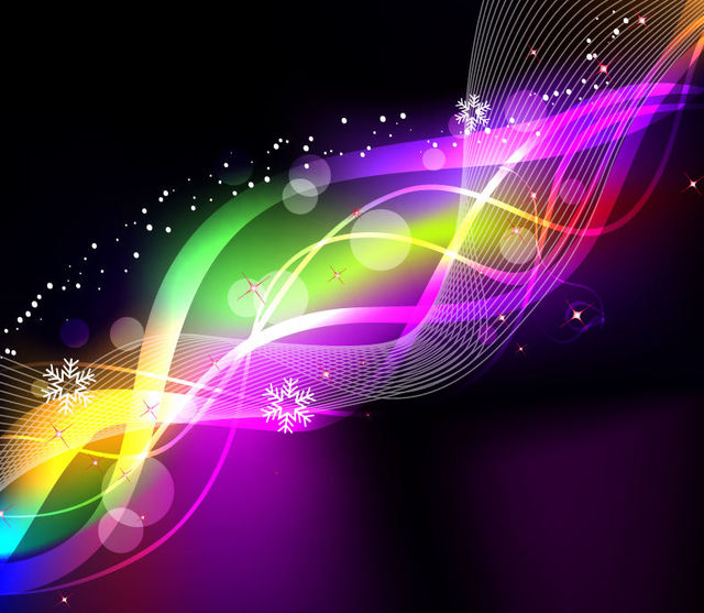 Free Rainbow Neon Glow Waves & Lines Background