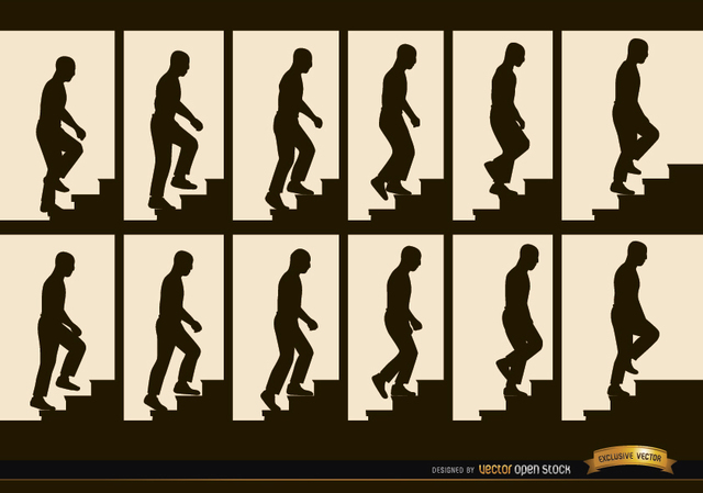 Free Vectors: Man climbing stairs sequence frames silhouettes | Vector Open Stock