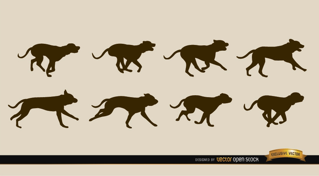 Free Dog motion sequence silhouettes
