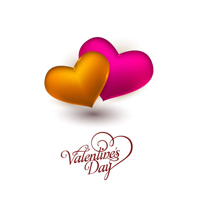 Free Gold Pink 3D Hearts Valentine Card