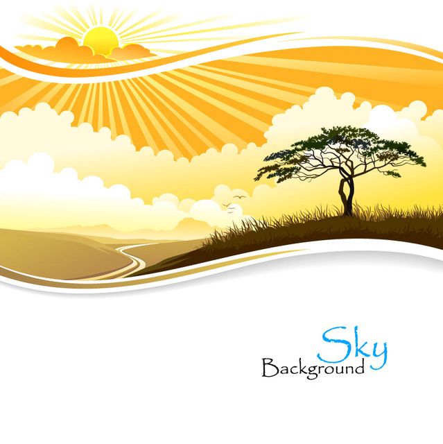 Free Sunset Sky Landscape with Big Tree
