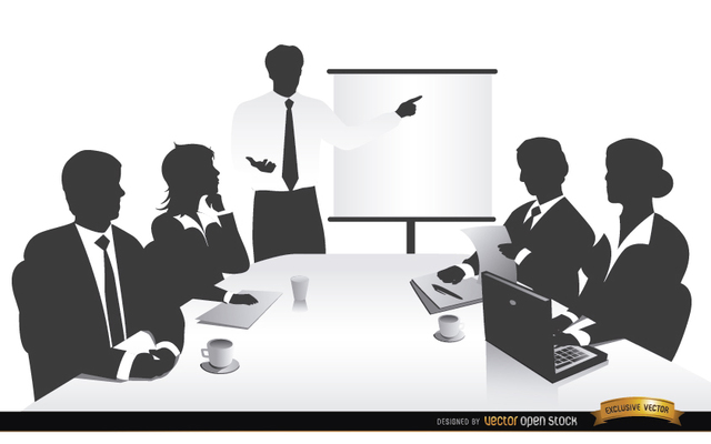 Free Vectors: Business meeting people silhouettes | Vector Open Stock