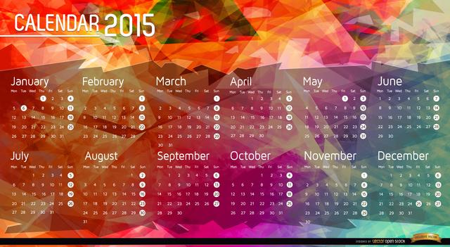 Free 2015 Calendar polygon background