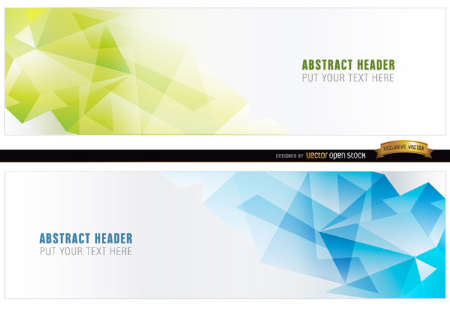 Free Abstract blue green polygonal headers
