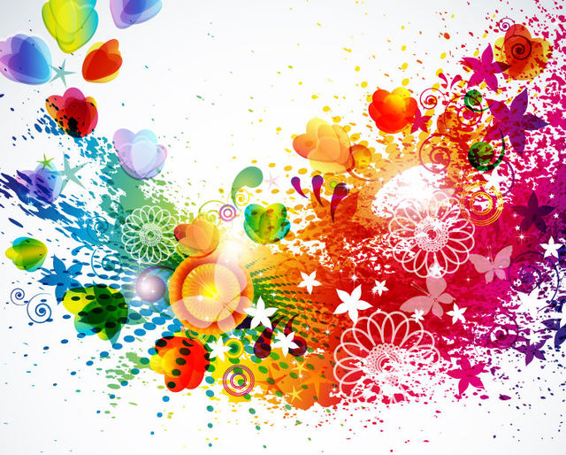 Free Abstract Colorful Splattered Floral Background