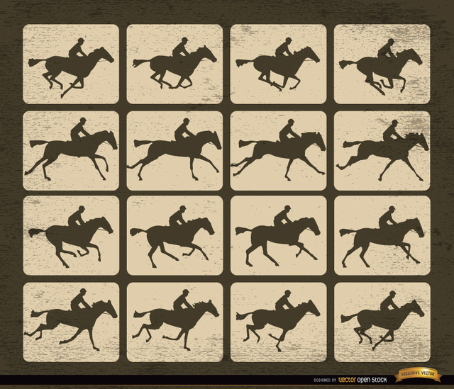 Free Vectors: Horse racing silhouette motion frames | Vector Open Stock