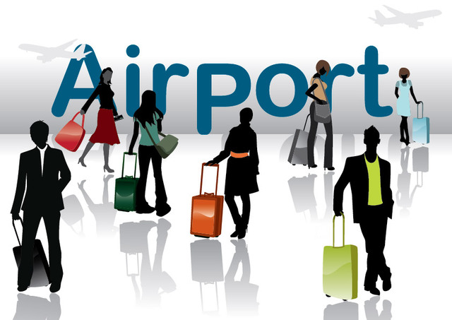 Free Vectors: Silhouette Travel People in the Airport | Vector