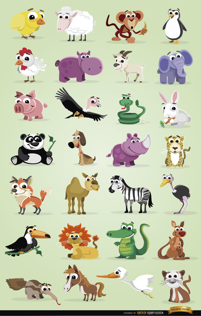 Free Vectors: Cartoon domestic and wild animals pack | Vector Open Stock