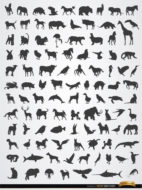Free Vectors: Terrestrial, aerial, and aquatic animal silhouettes | Vector Open Stock