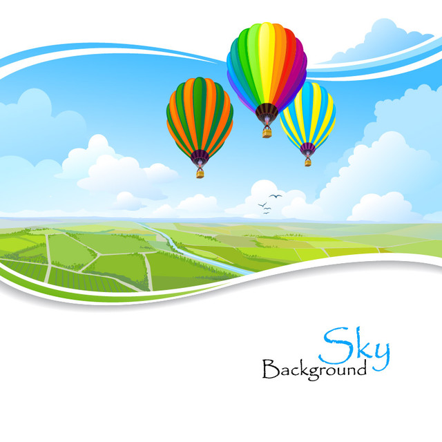 Free Hot Air Balloons Above Wavy Edge Lawn