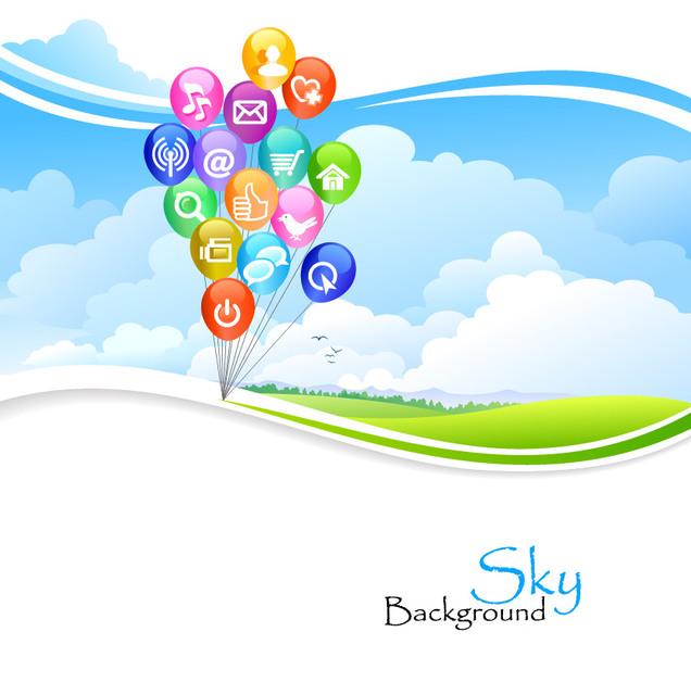 Free Social Media Balloons over Green Wavy Lawn