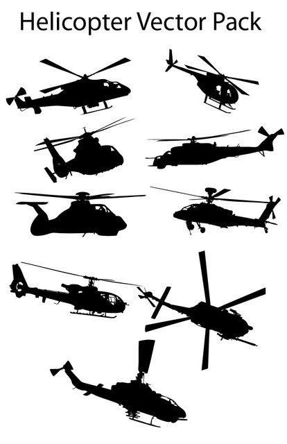 Free Various Silhouette Helicopter Pack