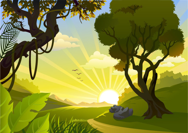 Free Sunrise Landscape Jungle Side