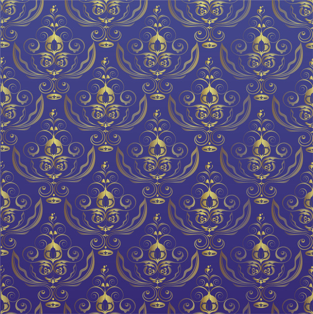 Free Seamless Royal Golden Pattern over Blue Background