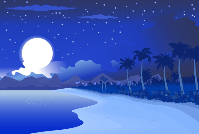 Free Midnight Blue Beachside Landscape