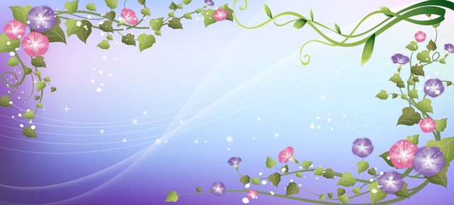 Free Swirling Floral Frame over Blue Light Background