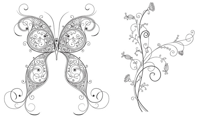 Free Decorative Butterfly and Floral Ornament