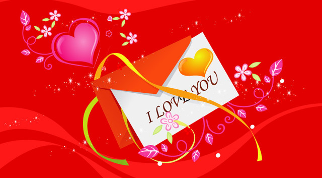 Free Red Valentine Card with Hearts & Flowers