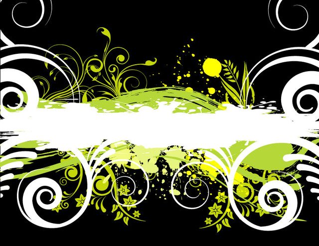 Free Green & White Grungy Stain with Floral Swirls