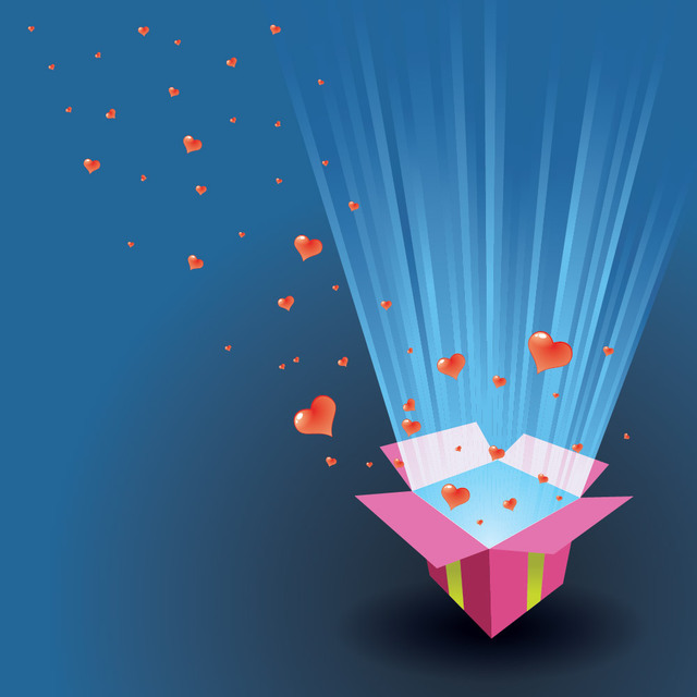 Free Valentine Card Hearts Floating Out of a Box