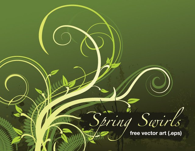Free Grungy Spring Swirls Background