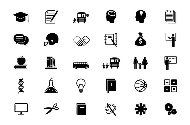 Free Black & White Educational Flat Icon Set