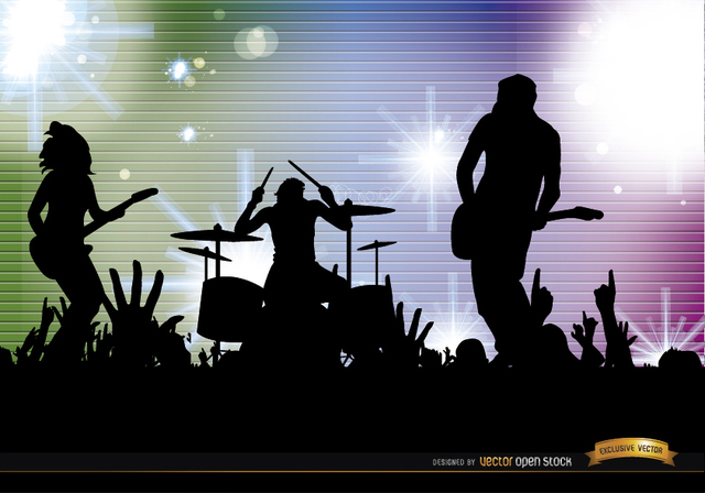 Free Rock band crowd concert silhouettes background