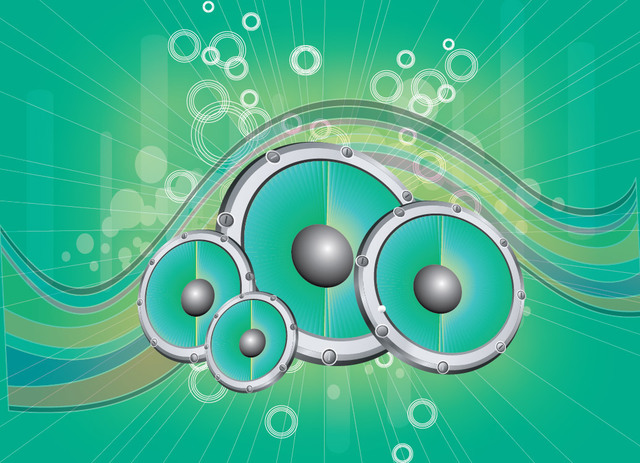 Free Abstract Speakers Waves & Circles Green Background