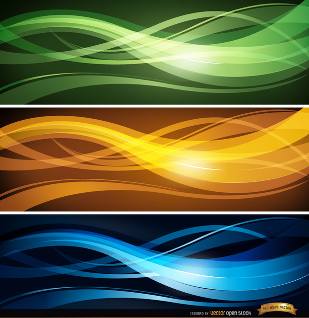 Free Wavy lines headers set