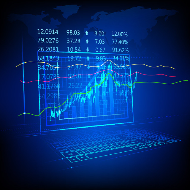 Free Blue Tech Fluorescent Financial Chart Background