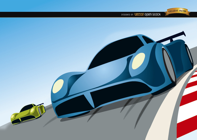 Free Racing cars competition cartoon