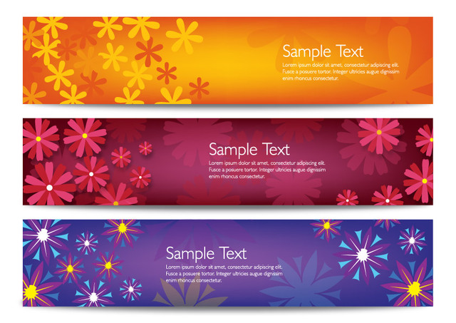 Free Bright Floristic Header Banner Set