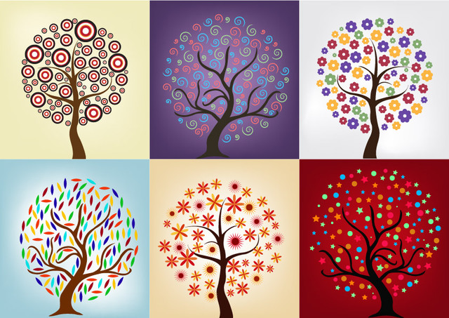 Free Tree Pack with Beautiful Abstract Decoration