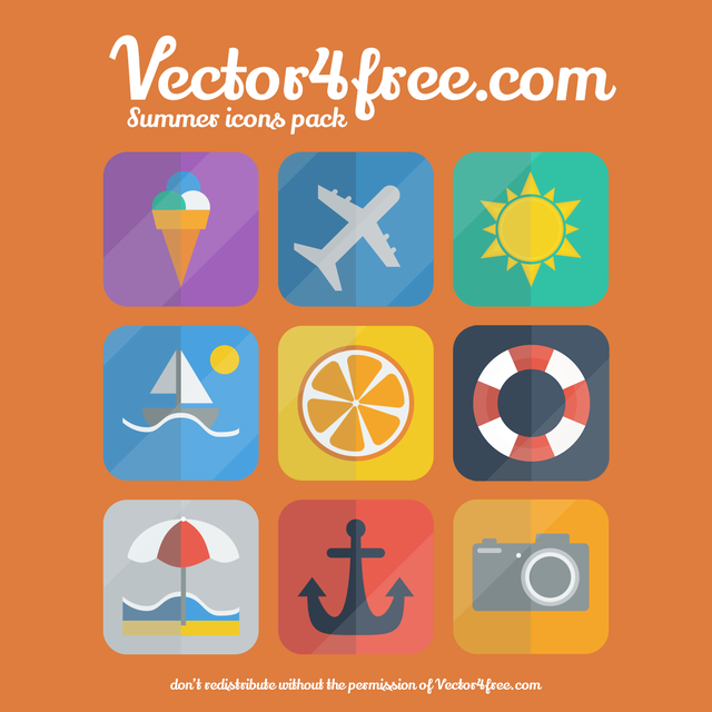Free Vectors: Flat Summer Icon Set on Rounded Corner Square | Vector 4 Free