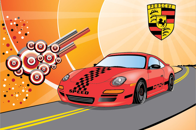 Free Porsche Car in the Street with Abstract Background