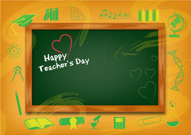Free Funky Teachers Day Background with Chalkboard