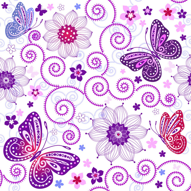 Free Decorative Swirls & Butterflies Seamless Pattern