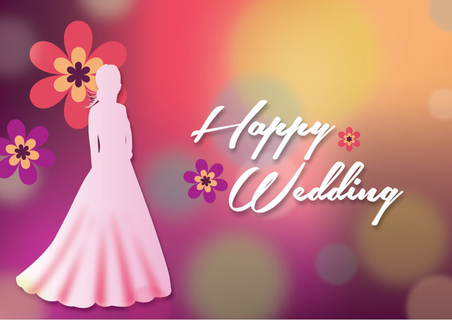 Free Bride Silhouette Colorful Wedding Background