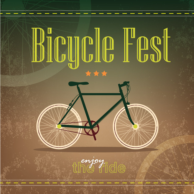 Free Vectors: Retro Grungy Bicycle Fest Poster Template | Vector Bee
