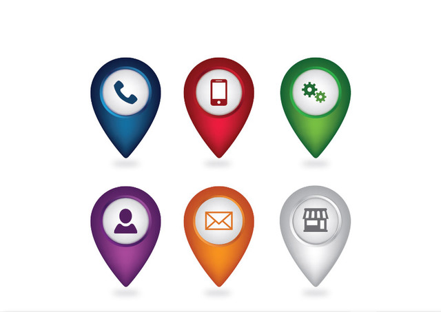 Free Simplistic Web Icon Pack with Location Pointer