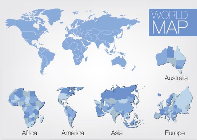 Free 5 Continent World Map Set
