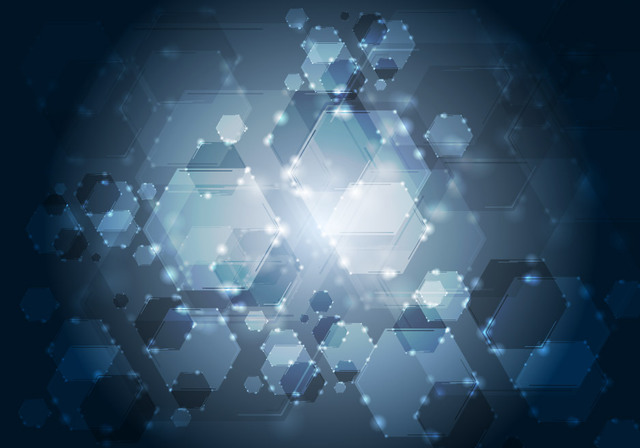 Free Fluorescent Hexagonal & Bokeh Bubbles Background