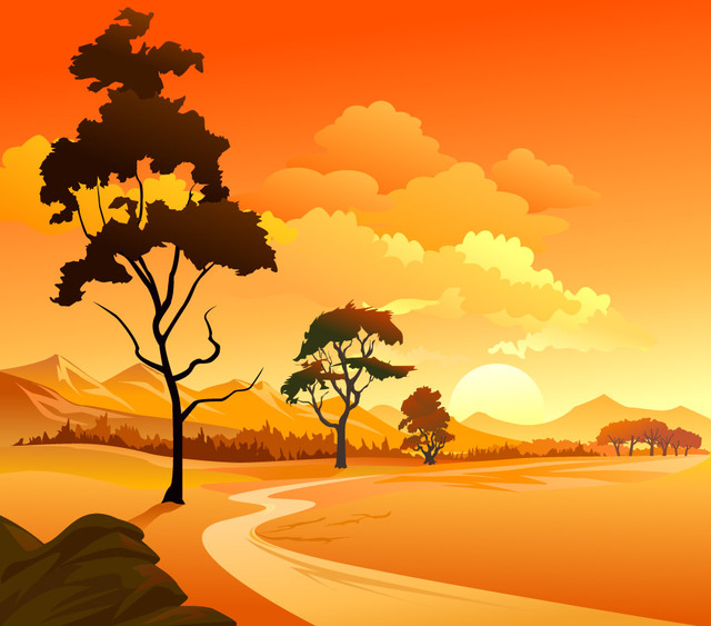 Free Mountainside Landscape Sunset Background
