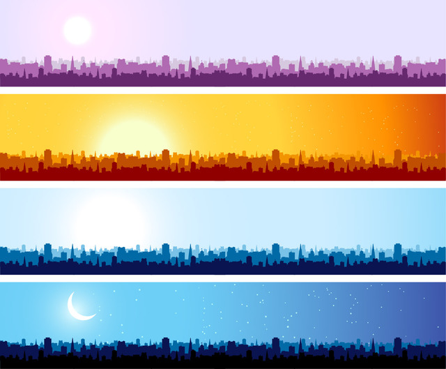 Free Vectors: Morning to Night Cityscape Banner Pack | All Vectors