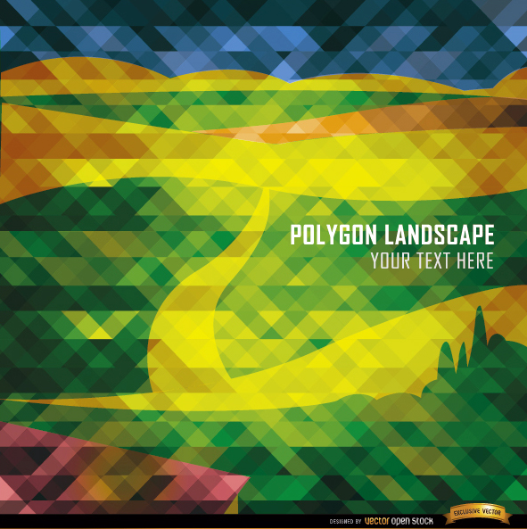 Free Polygon road and mountains landscape