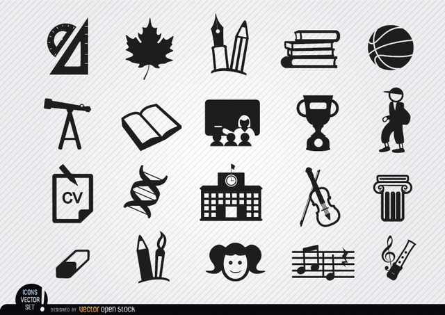 Free Vectors: School elements icons set | Vector Open Stock