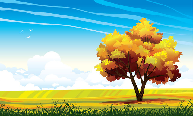 Free Abstract Landscape with Big Tree
