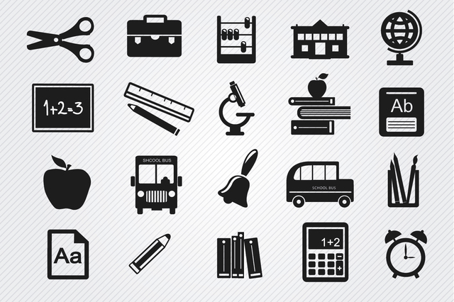Free Study objects icons set