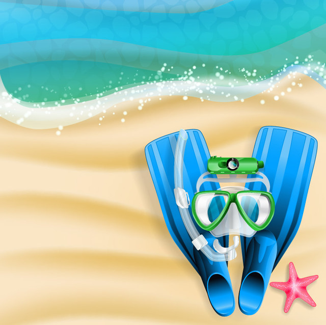 Free Summer Beach with Flipper & Snorkel