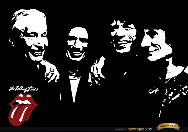Free Rolling Stones band black and white wallpaper